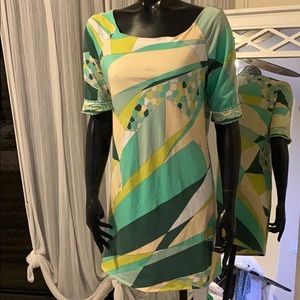 Emilio Pucci Cotton tunic dress geometric beehive